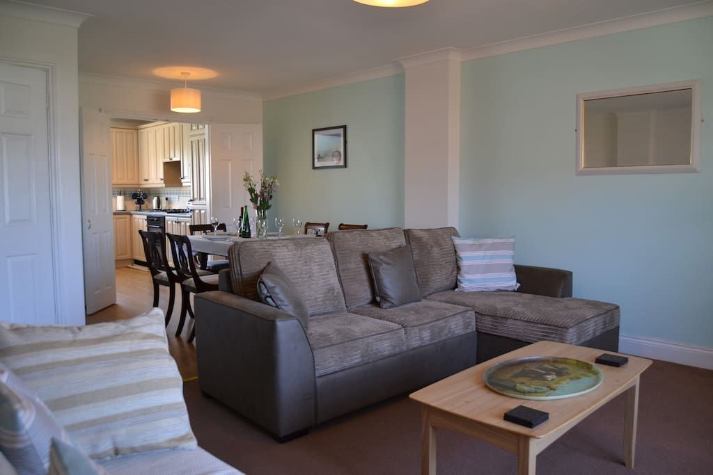 Lovely open plan, Large Sitting room which leads to dining area then into kitchen.