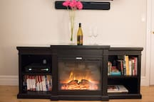 an electric heater to set the mood and keep you warm