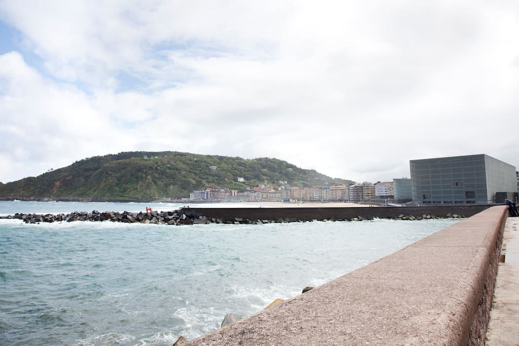 view from  the street on kursaal and Zurriola Beach