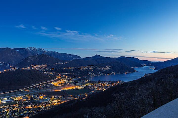 Overview of Lugano Lake & mountains