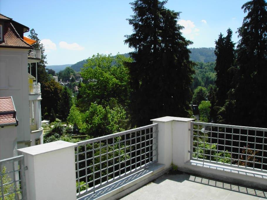 großer Balkon mit Blick auf den Schwarzwald