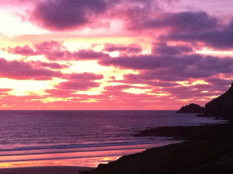 Glorious sunset over Polzeath beach