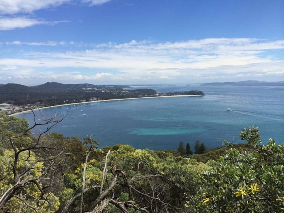 View from Tomaree Mountain looking over Shoal Bay Location shot only