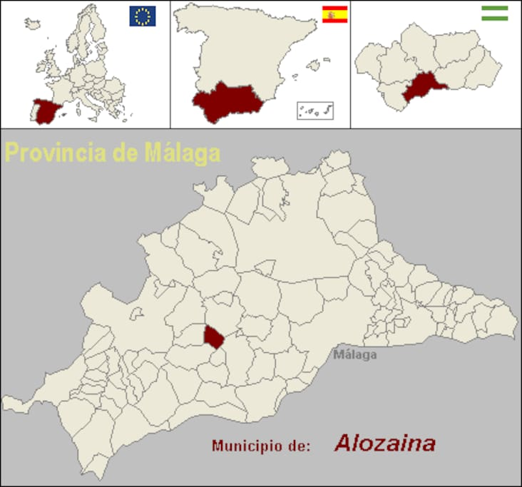 Location within a map of Andalucia.  Nearest airport is Malaga.