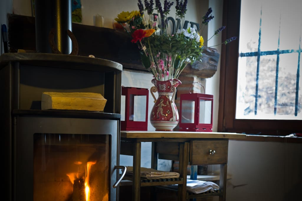 kitchen area: wood burner and open fireplace (behind vase)