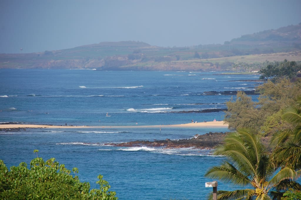 View down the Poipu Beach