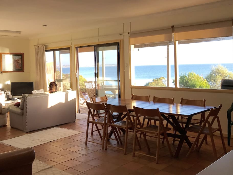 Magnificent views of the beach and the ocean from the light-filled open plan living areas.