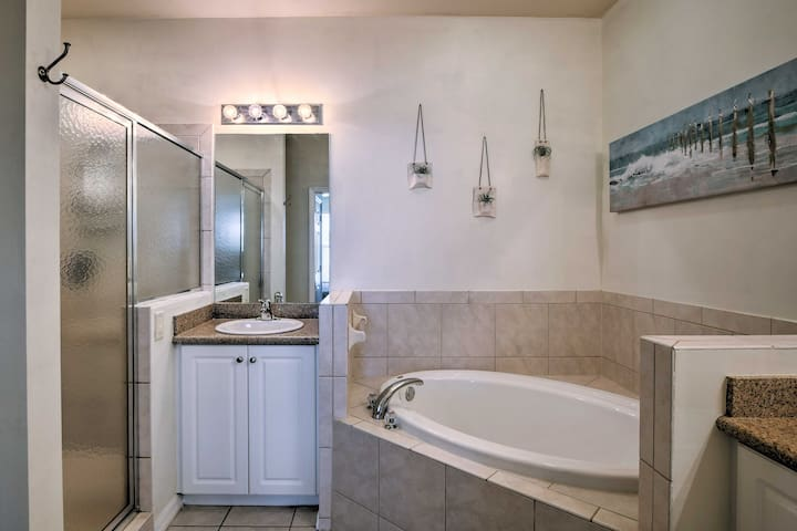 Sink into the soaking tub after a day walking 5th Avenue South.