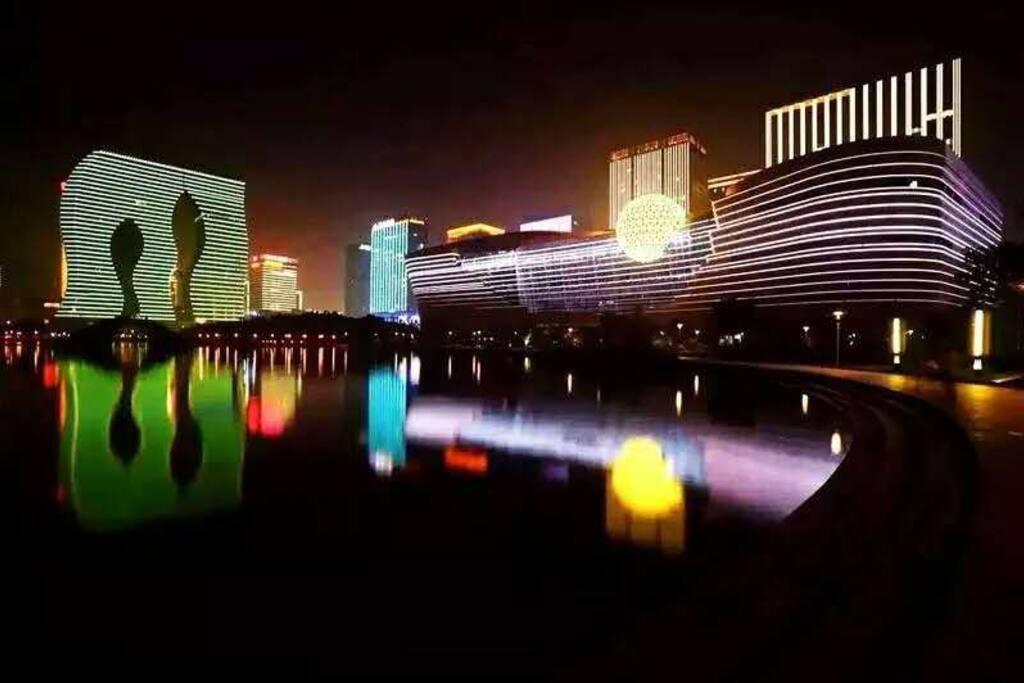 钱塘江畔G20亮灯工程之一,杭州印。