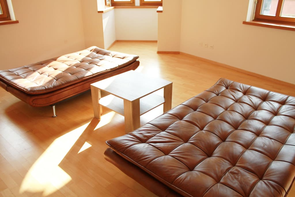Living room with two sofabeds