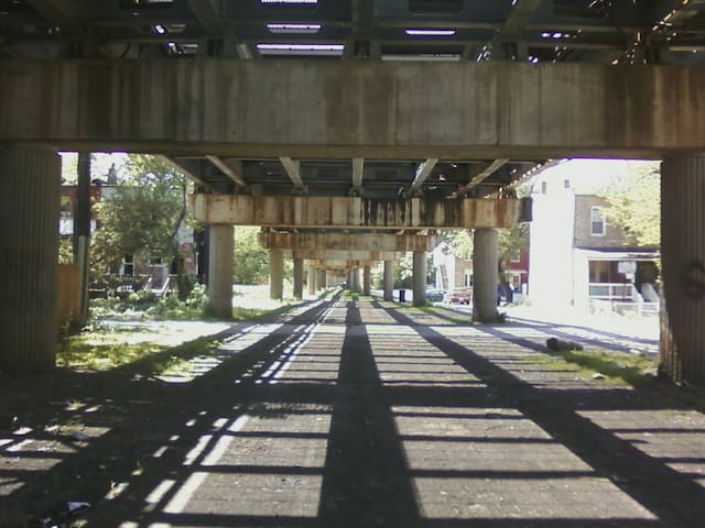 under the train near us