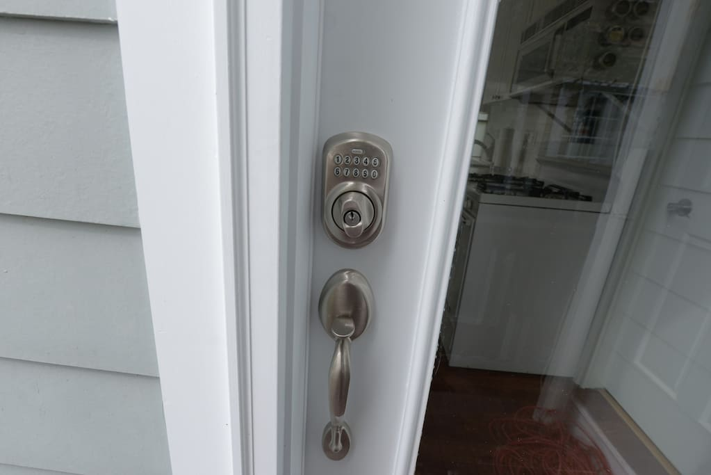 Electronic lock that leads to your private apartment.  You will receive a 4 digit code to enter after booking.