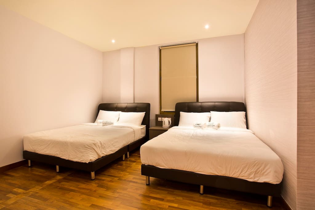 2x Double bed with Attached Toilet, TV, Mini Bar frigde, Steam Iron, Hair Dryer.