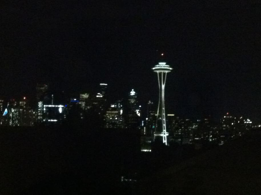 Seattle at night, taken from the living room window.