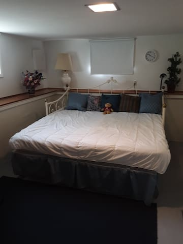 Bedroom with both beds side-by-side set up as a king