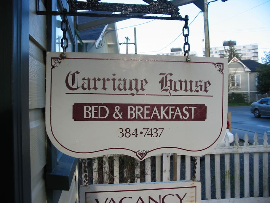 Carriage House B&B - Main House Front Door Sign