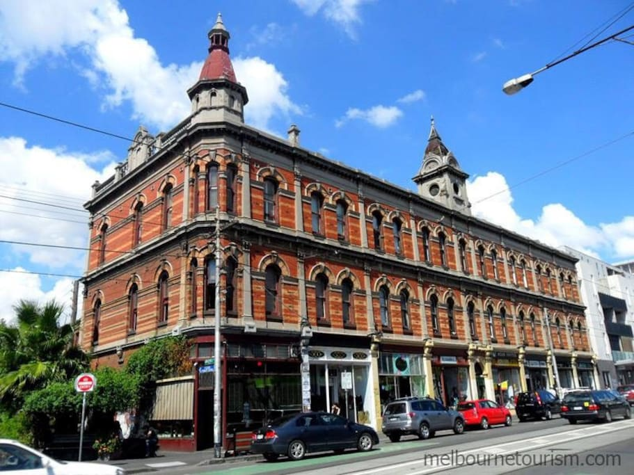 The apartment is located in this iconic building - Beswicke Terrace. The apartment is to the rear and away from the noise of Brunswick St.