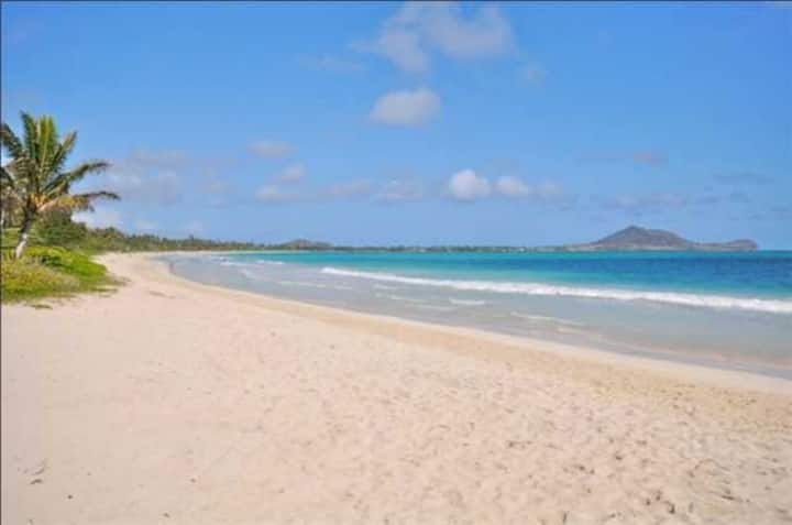Kailua & Lanikai Beach Steps Away+King Bed+AC+BBQ
