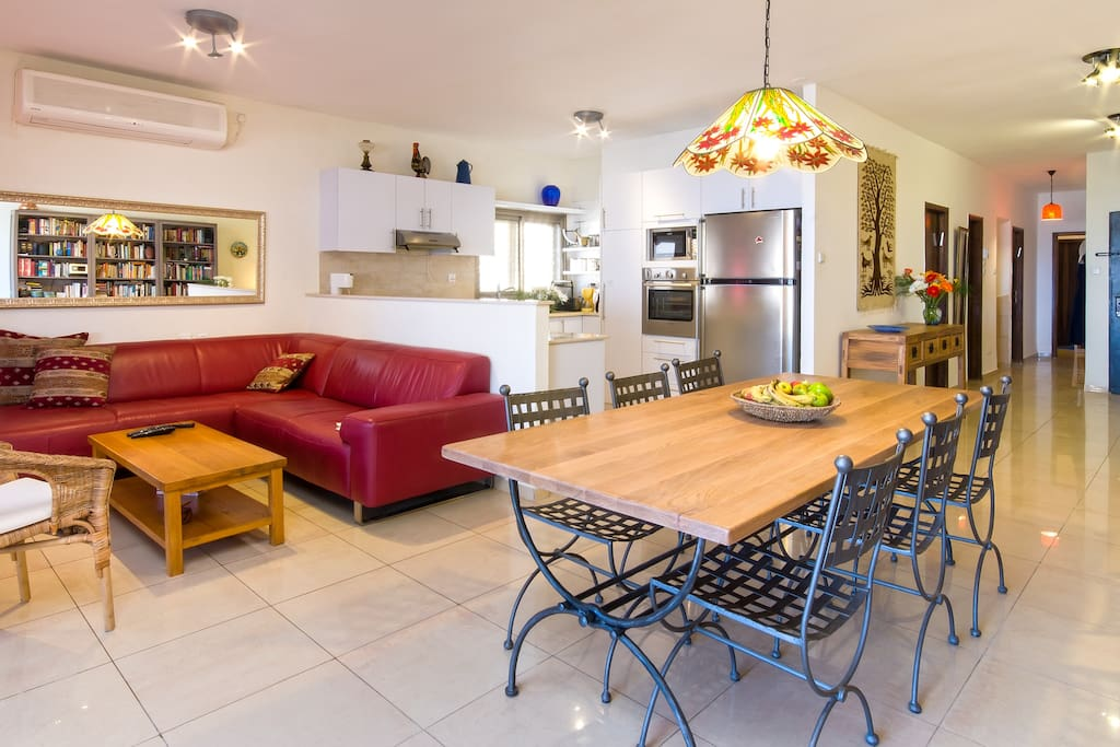 The living, dining and kitchen area