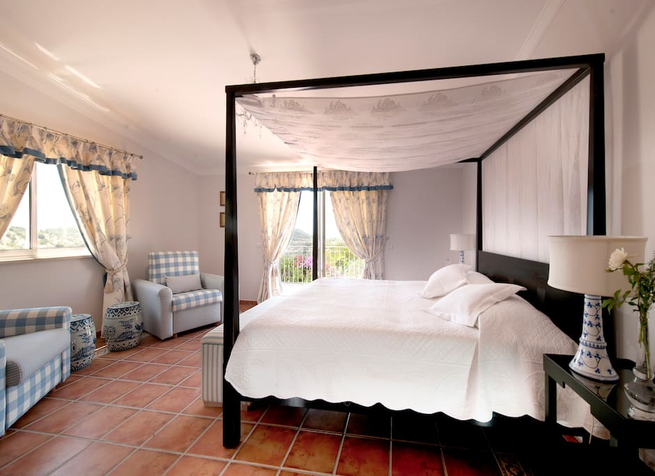 Our Master Suite, with separate living area and spa bath.