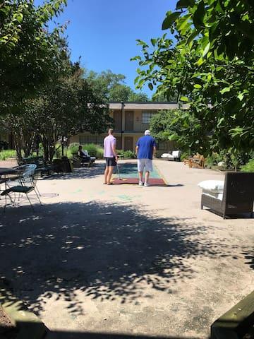 Courtyard has chess, shuffleboard, grill, picnic area...