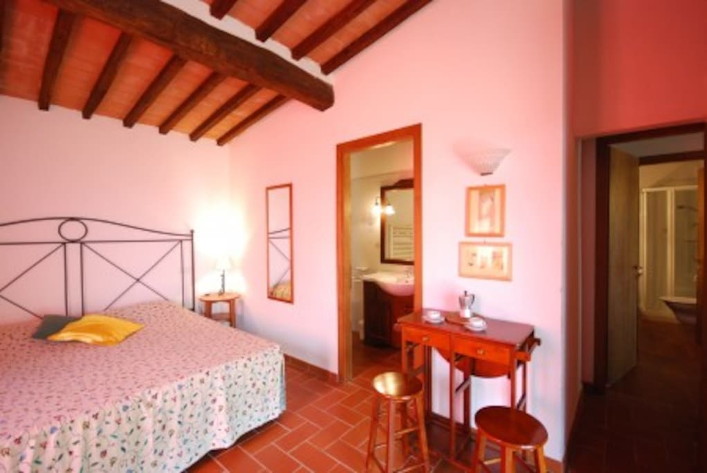 Double bed-room king size bed with en-suite bathroom and access to terrace - garden.