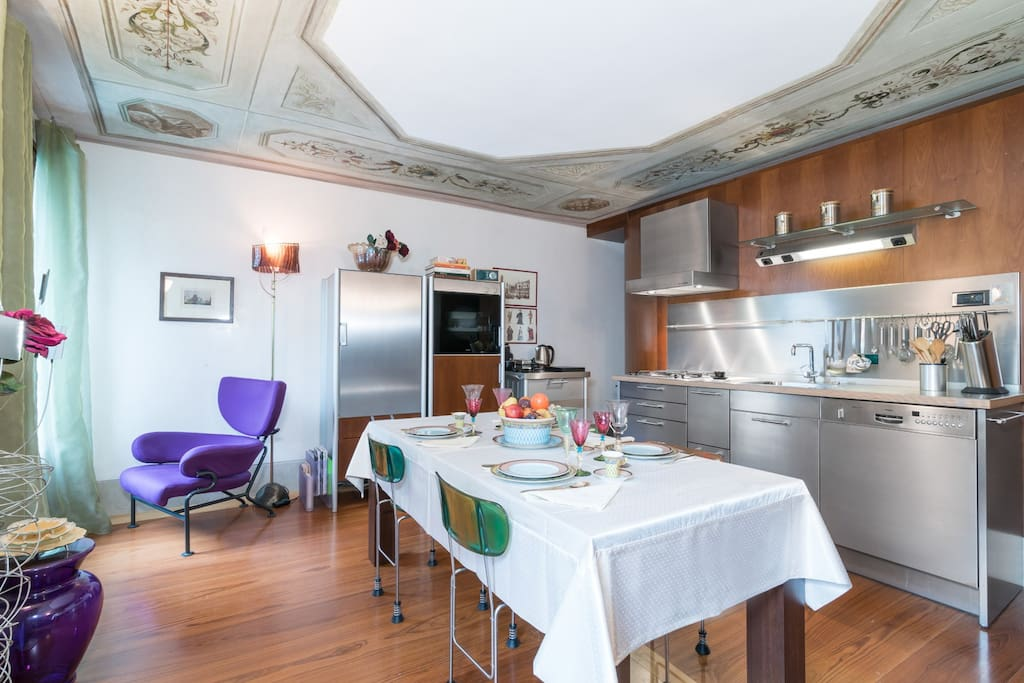 Fully equipped  kitchen with Tiepolo's school frescoes on the ceiling.