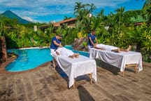 Treat yourself with a delicious massage, surrounded by our stunning and colorful tropical gardens, while enjoying a breathtaking volcano view.
