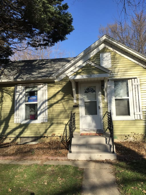 Our house is a small three bedroom house on a quiet street by downtown Iowa City. It is a mile away from downtown.
