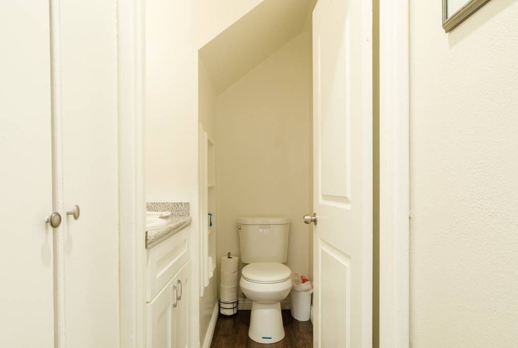 Guest bathroom near your bed.