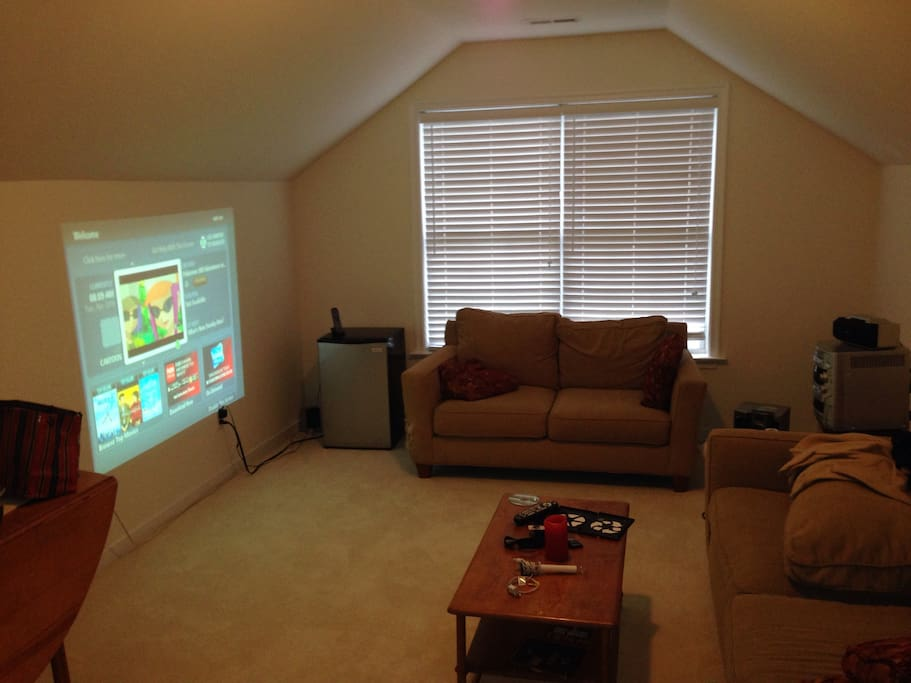 Private TV room with projector TV, surround sound, couches and a mini fridge