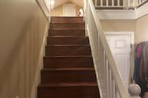 Stairs to loft/sleeping area.