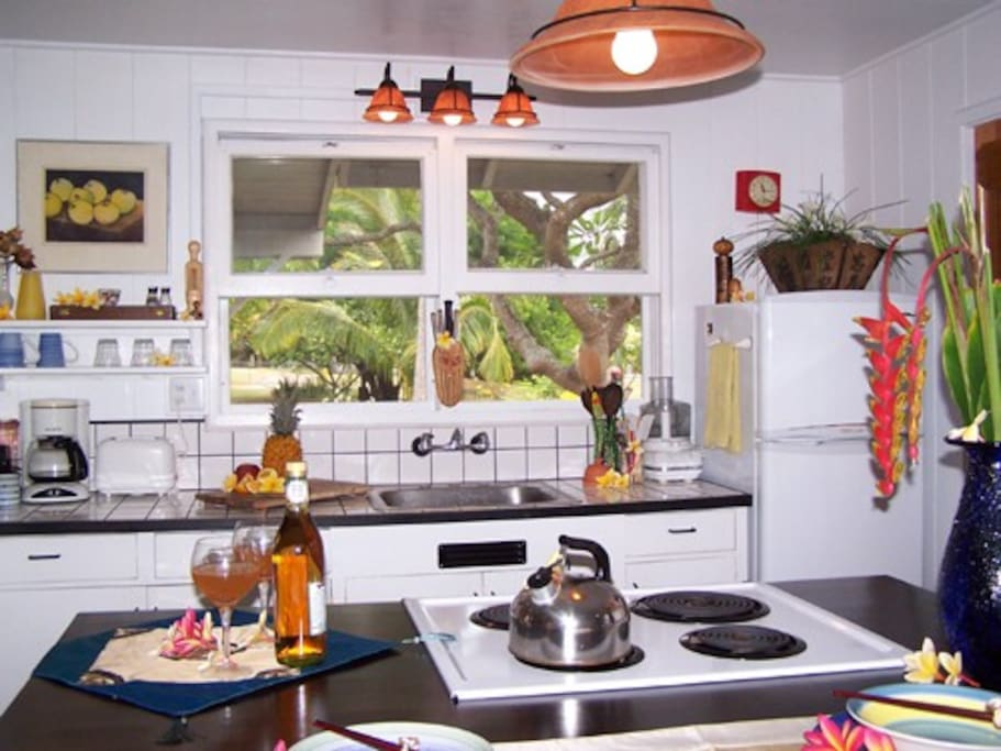 Full kitchen with lovely yard views