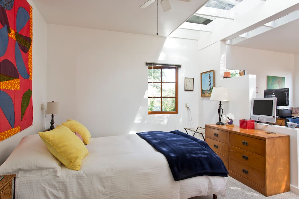 Skylights lend soft, filtered light to the space.