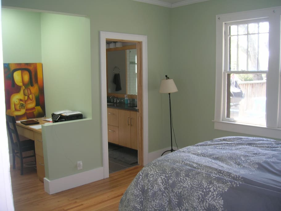 Newly constructed master bedroom with walk-in closet, office, and beautiful bathroom.