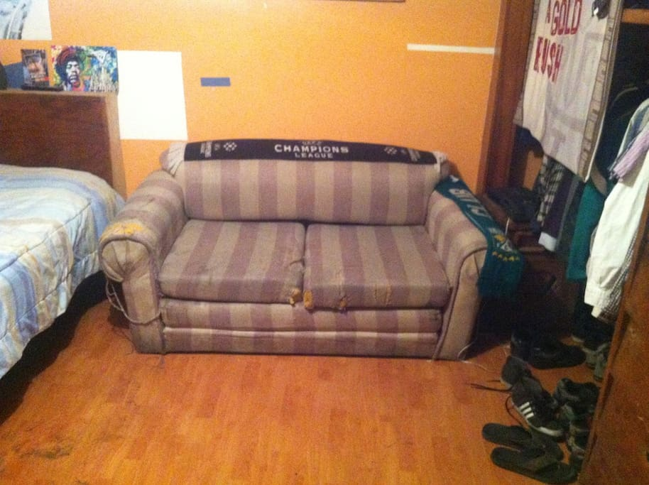 The sofa converts to a bed