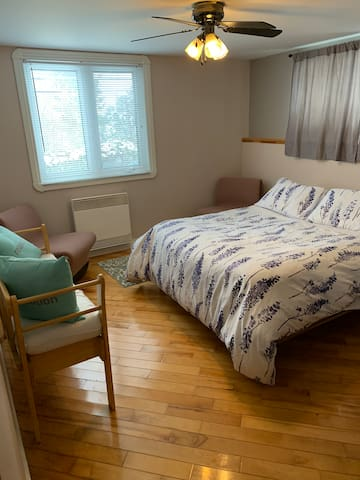 Queen bed, 2 chairs, bench and closet