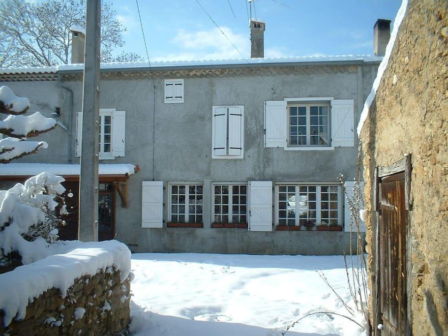 This is the front of the house which faces the village.   One hour from the nearest ski resort, it is a warm, cosy and welcoming place to return to in the winter months.