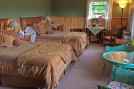 Dorothy Room w/2 queen beds, private bath, WiFi, desk, table w/chairs, rocker. Common kitchen, sitting area with fireplace and deck