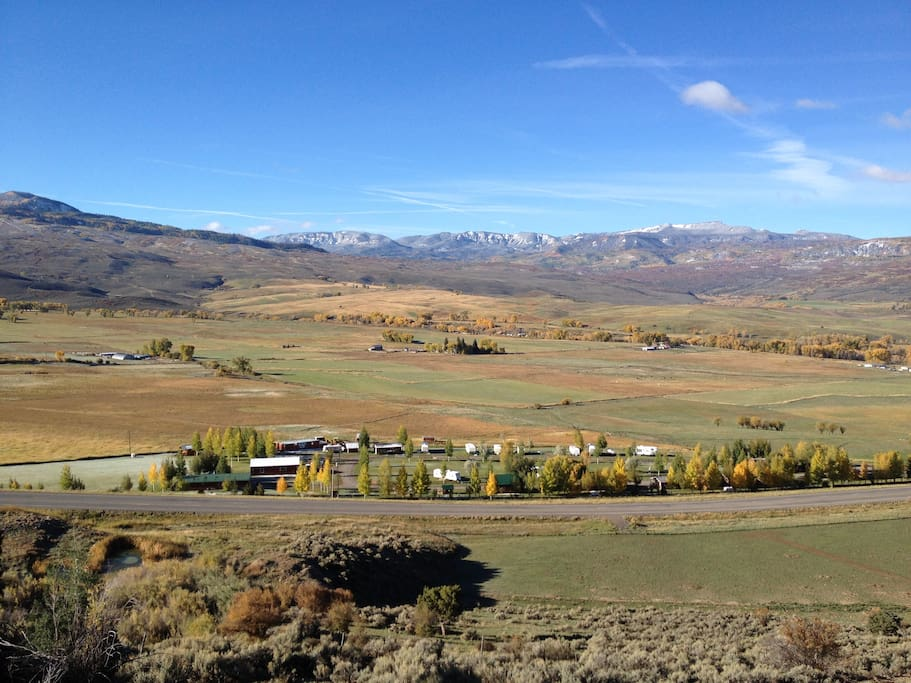 View from above looking south toward the San Juan mountains and greater Cimarron Valley