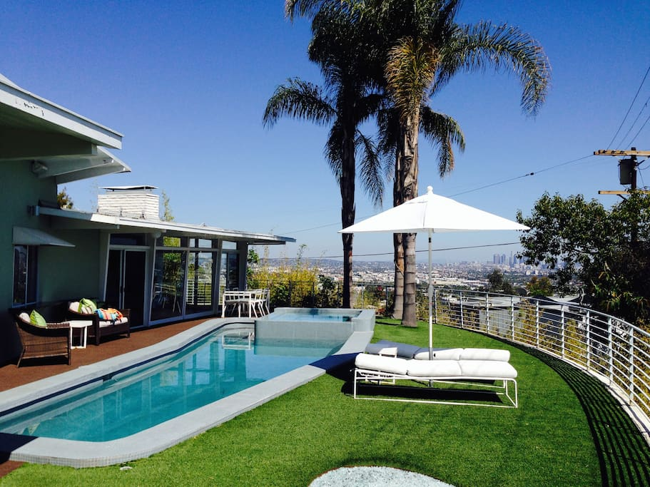 1958 hollywood hills single story houses for rent in los - Salt water swimming pools los angeles ...