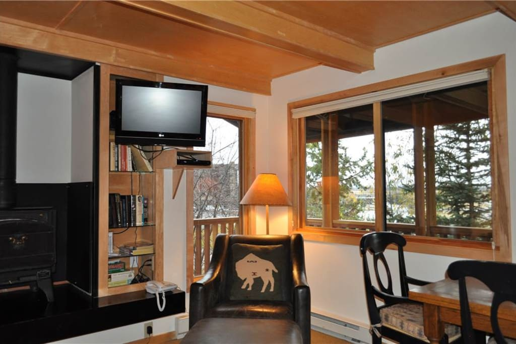 Living Room with Wood Stove and HDTV