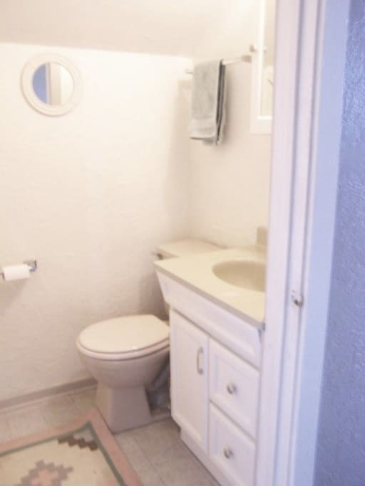 You have a private half bath adjacent to your room.