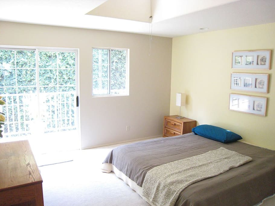 Room upstairs with balcony overseeing backyard and sliding full length mirror closet doors.
