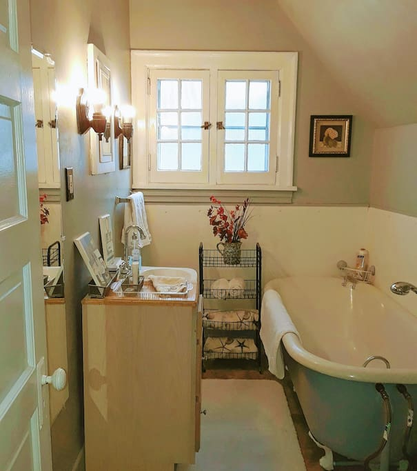 Your own private bathroom.  Emphasis on cleanliness...with an array of soothing, scented bath salts.