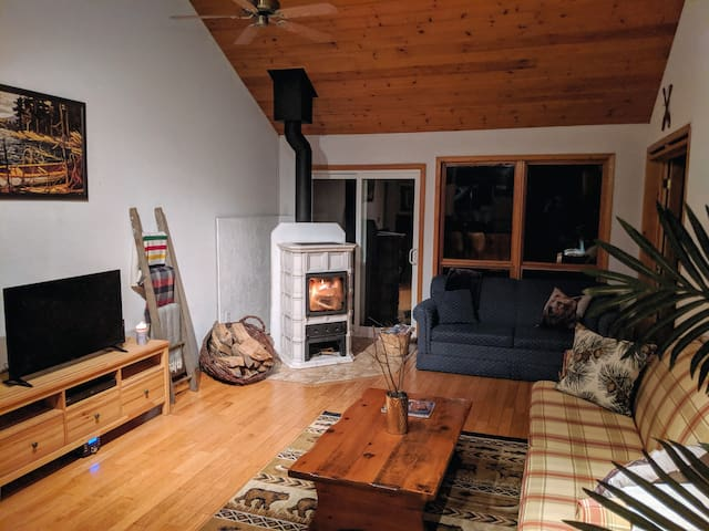 fireplace, television and a sofa bed for extra guests!