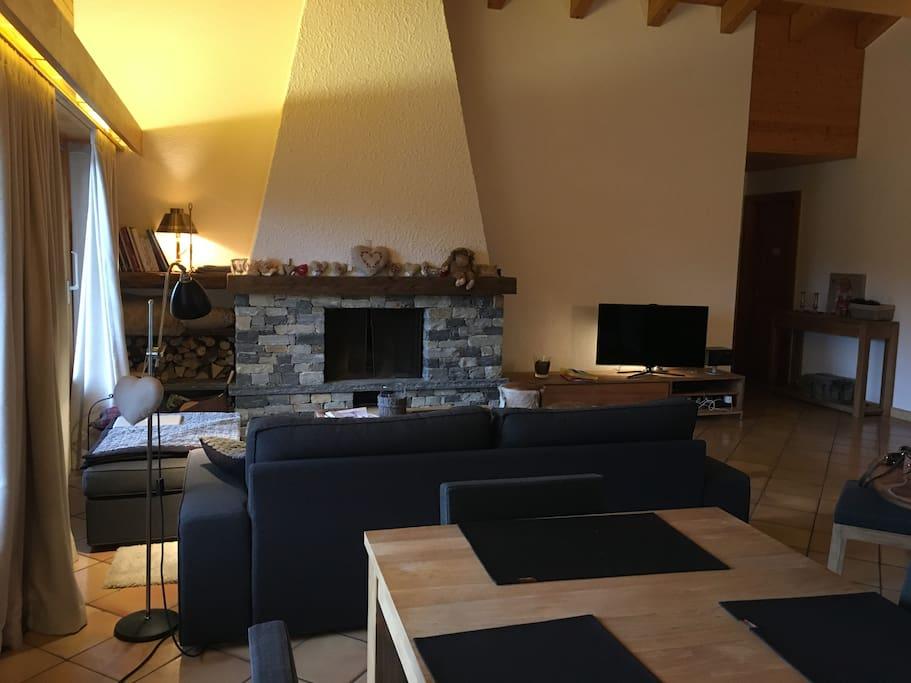Living et cheminée