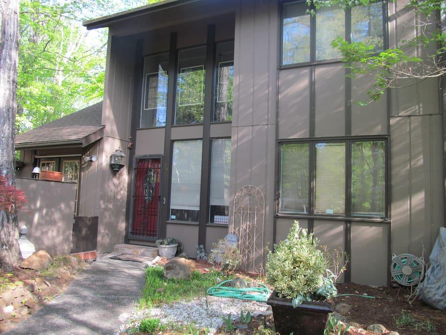 Front door, high glass windows!