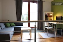 mezzanine, with couch turning into another double bed