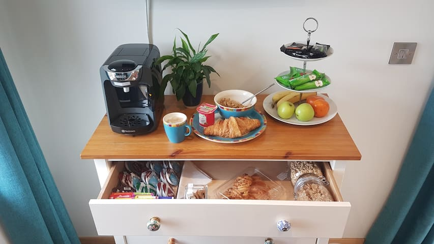 In-room continental breakfast and additional snacks